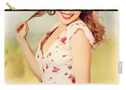 Vintage Pinup Woman With Pretty Make-up And Hair Carry-all Pouch