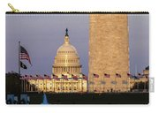 Washington D.c. - Us Flags With Cropped Carry-all Pouch