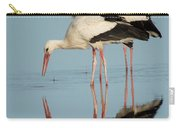 White Storks Ciconia Ciconia In A Lake Carry-all Pouch