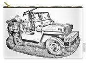 Willys World War Two Army Jeep Illustration Carry-all Pouch