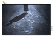 Woman Alone Outside In Fog At Night Carry-all Pouch