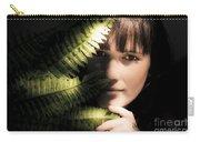 Woman Hiding Behind Fern Leaf Carry-all Pouch