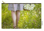 Woman Walking Through A Wild Flower Meadow With A Basket Of Flow Carry-all Pouch