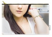 Young Pretty Business Travel Woman With Luggage Carry-all Pouch