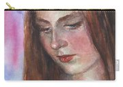 Young Woman Watercolor Portrait Painting Carry-all Pouch by Svetlana Novikova