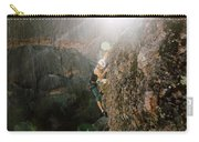 A Man Rock Climbing In Pinnacles Carry-all Pouch