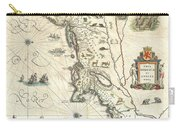 1635 Blaeu Map Of New England And New York Carry-all Pouch by Paul Fearn