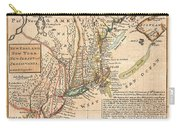 1729 Moll Map Of New York New England And Pennsylvania  Carry-all Pouch