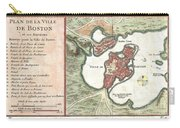 1756 Bellin Map Of Boston Massachusetts Carry-all Pouch