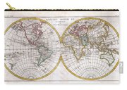 1780 Raynal And Bonne Map Of The Two Hemispheres Carry-all Pouch