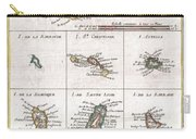 1780 Raynal And Bonne Map Of The Virgin Islands And Antilles West Indies Carry-all Pouch