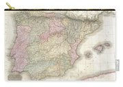 1818 Pinkerton Map Of Spain And Portugal Carry-all Pouch