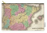 1827 Finely Map Of Spain And Portugal Carry-all Pouch