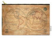 1833 School Girl Manuscript Wall Map Of The World On Hemisphere Projection  Carry-all Pouch