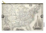 1851 Tallis And Rapkin Map Of The United States Carry-all Pouch