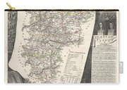 1852 Levasseur Map Of The Department L Aisne France Carry-all Pouch