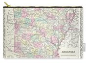 1855 Colton Map Of Arkansas Carry-all Pouch