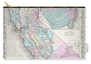 1855 Colton Map Of California And San Francisco Carry-all Pouch