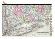 1855 Colton Map Of Connecticut And Long Island Carry-all Pouch
