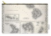 1855 Colton Map Of Hawaii And New Zealand Carry-all Pouch