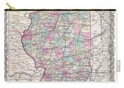 1855 Colton Map Of Illinois Carry-all Pouch