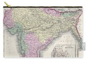 1855 Colton Map Of India Or Hindostan Carry-all Pouch