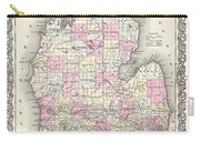 1855 Colton Map Of Michigan Carry-all Pouch