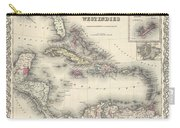 1855 Colton Map Of The West Indies Carry-all Pouch