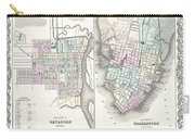 1855 Colton Plan Or Map Of Charleston South Carolina And Savannah Georgia Carry-all Pouch