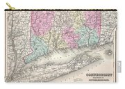 1857 Colton Map Of Connecticut And Long Island Carry-all Pouch