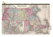 1857 Colton Map Of Massachusetts And Rhode Island Carry-all Pouch