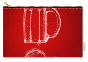 1876 Beer Mug Patent Artwork - Red Carry-all Pouch