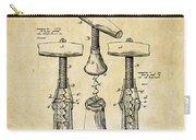 1883 Wine Corckscrew Patent Art - Vintage Black Carry-all Pouch