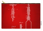 1884 Corkscrew Patent Artwork - Red Carry-all Pouch
