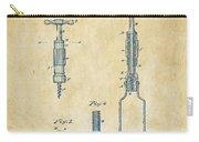 1884 Corkscrew Patent Artwork - Vintage Carry-all Pouch