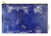 1885 Roller Skate Patent Drawing Blue Carry-all Pouch