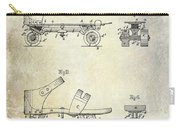 1885 Roller Skate Patent Drawing Carry-all Pouch