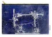 1885 Sewing Machine Patent Drawing Blue Carry-all Pouch