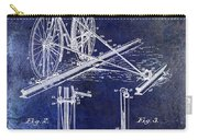 1891 Bicycle Patent Drawing Blue Carry-all Pouch