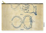 1891 Police Nippers Handcuffs Patent Artwork - Vintage Carry-all Pouch