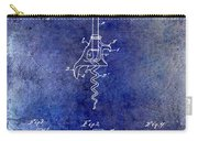 1900 Corkscrew Patent Drawing Blue Carry-all Pouch