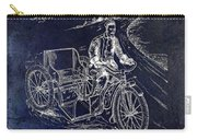 1913 Motorcycle Side Car Patent Blue Carry-all Pouch