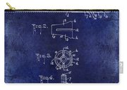 1915 Billiard Cue Patent Drawing Blue Carry-all Pouch