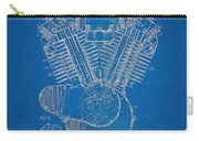 1923 Harley Davidson Engine Patent Artwork - Blueprint Carry-all Pouch by Nikki Smith