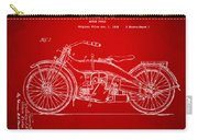 1924 Harley Motorcycle Patent Artwork Red Carry-all Pouch by Nikki Marie Smith
