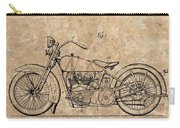 1928 Harley Davidson Motorcyle Patent Illustration Carry-all Pouch