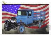 1929 Blue Chevy Truck And American Flag Carry-all Pouch