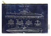 1930 Ship's Hull Patent Drawing Blue Carry-all Pouch