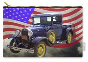 1930 Model A Ford Pickup Truck And American Flag Carry-all Pouch
