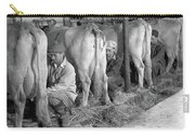 1930s 1940s Three Men Hand Milking Carry-all Pouch